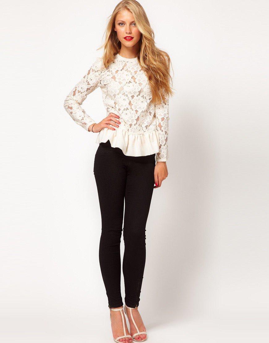 блузка кружевная белая с баской