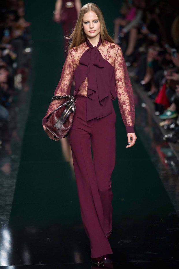 блузка кружевная бордовая с объемным бантом