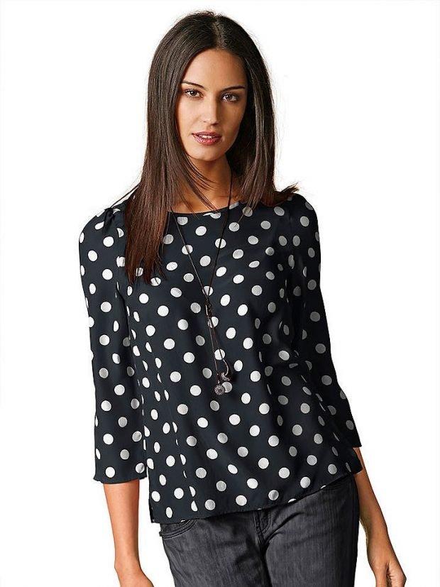 блузка в горох крупный черная
