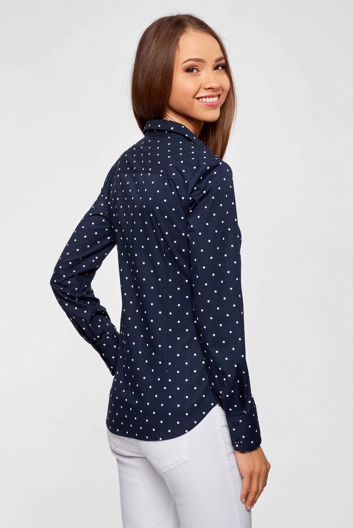 блузка синяя в белый мелкий горох
