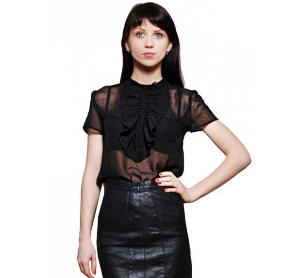 блузка с жабо черная прозрачная с коротким рукавом