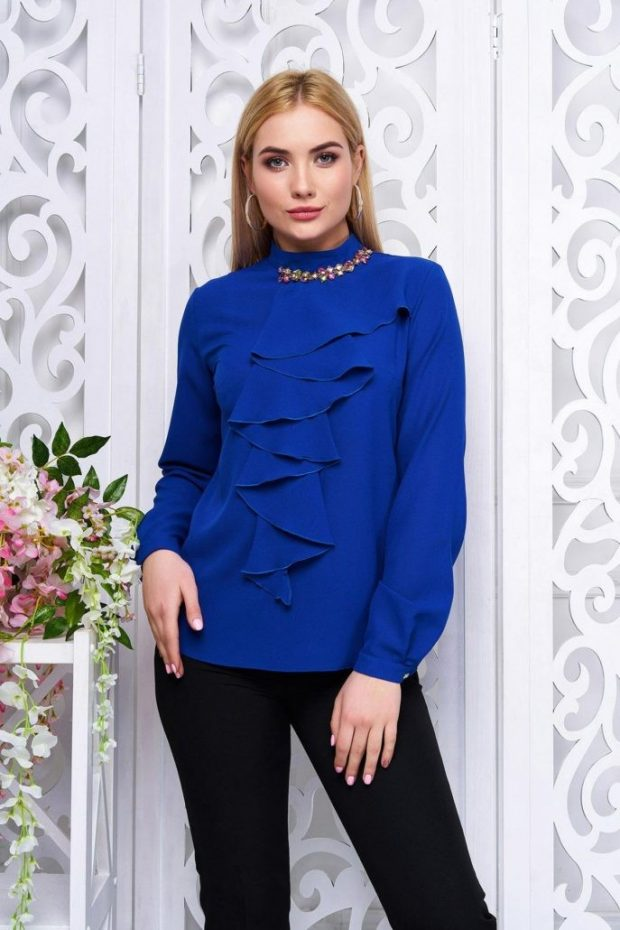 блузка с жабо синяя рукав длинный