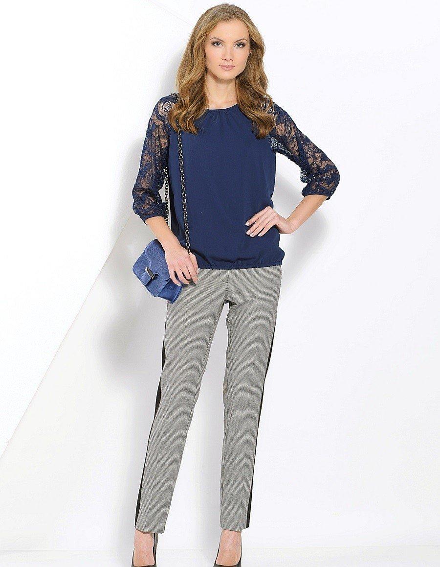 блузка рукав реглан ажурный синяя