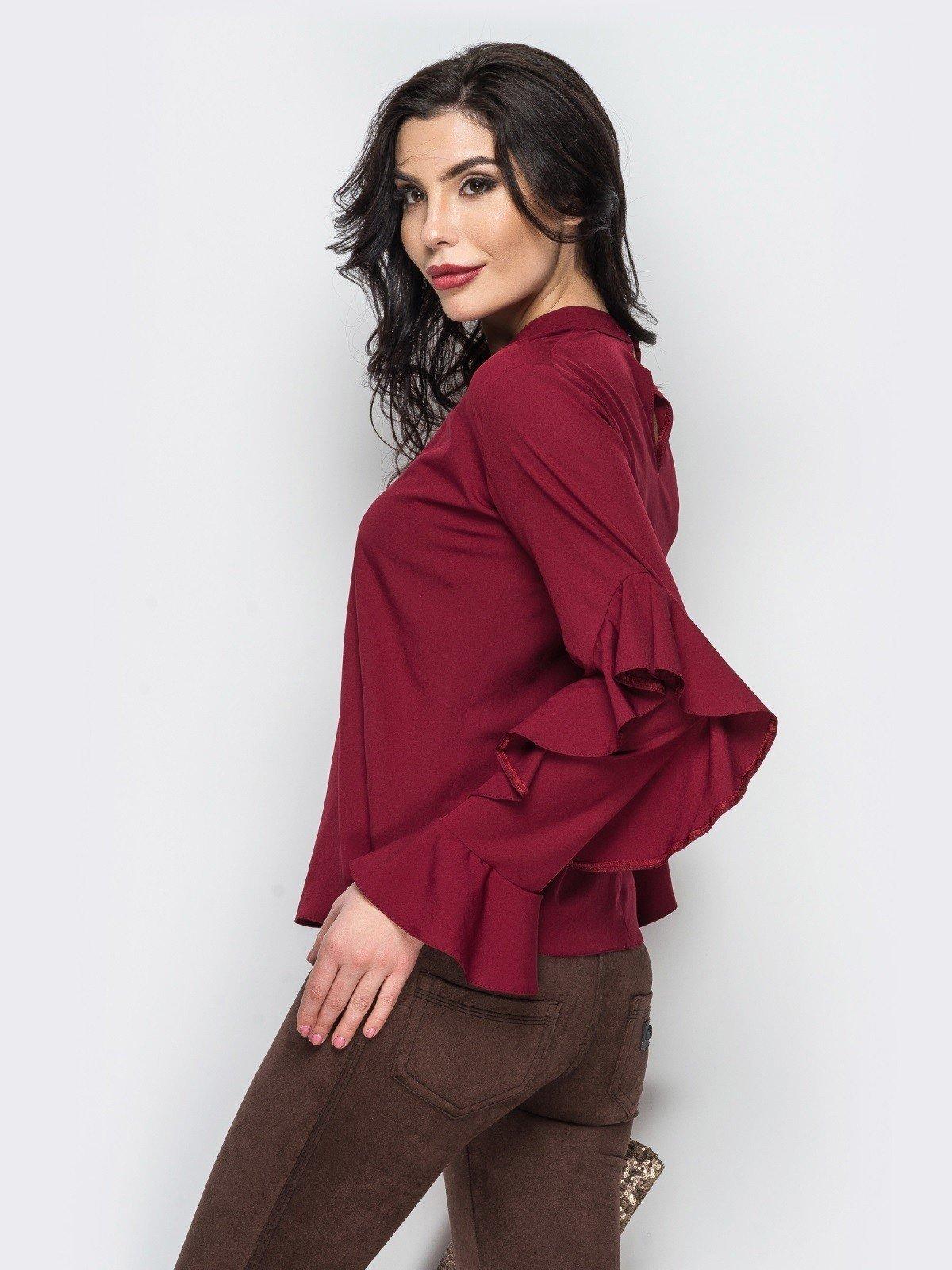 блузка с рюшками бордовая рукав длинный
