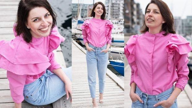 блузка с рюшками розовая рукав длинный