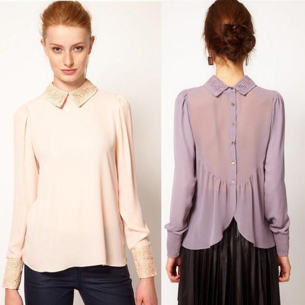 блузка бежевая нежно-фиолетовая воротник с камушками