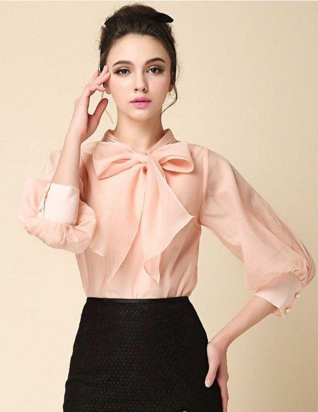 блузка персиковая с бантом рукава фонарики