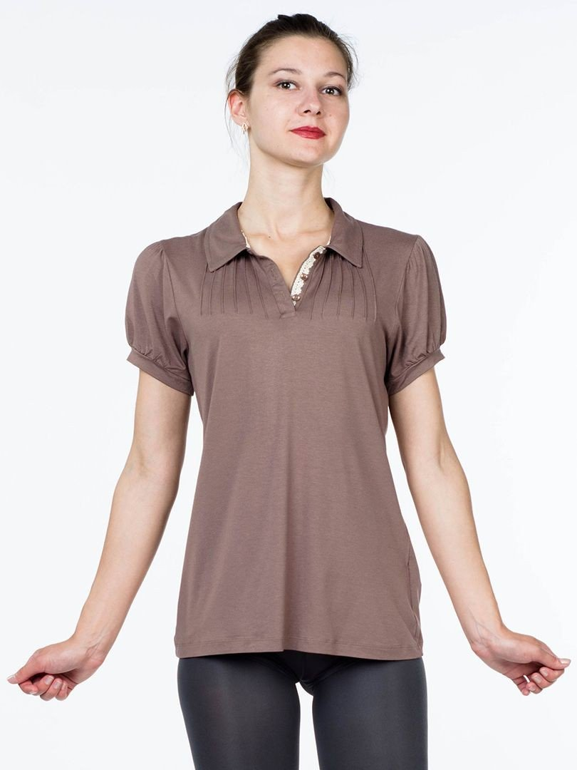 блузка трикотажная коричневая рукав короткий