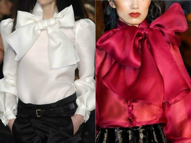 блузки с бантами белая красная из шелка