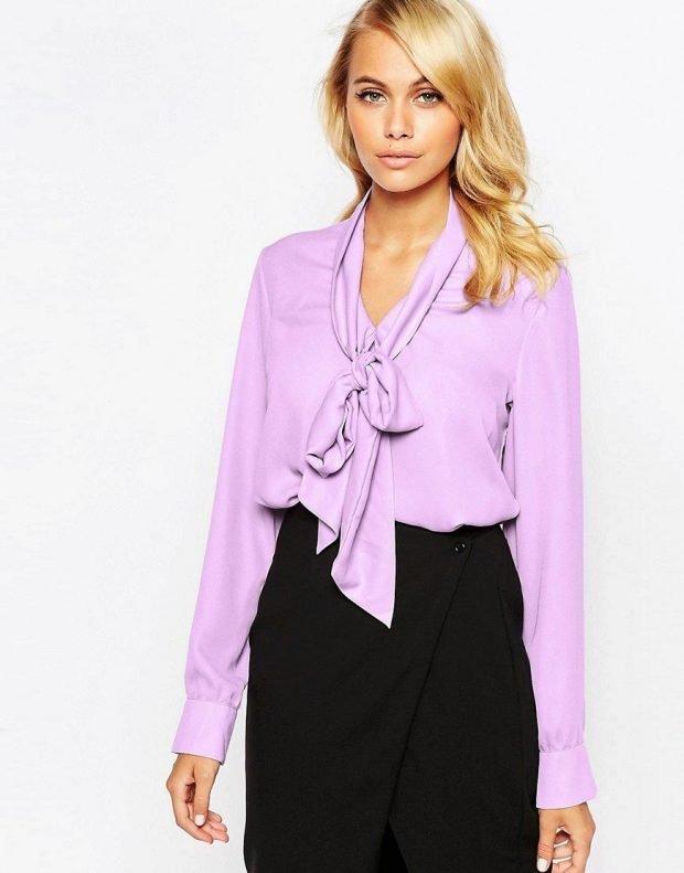 блузка с бантом нежно сиреневая
