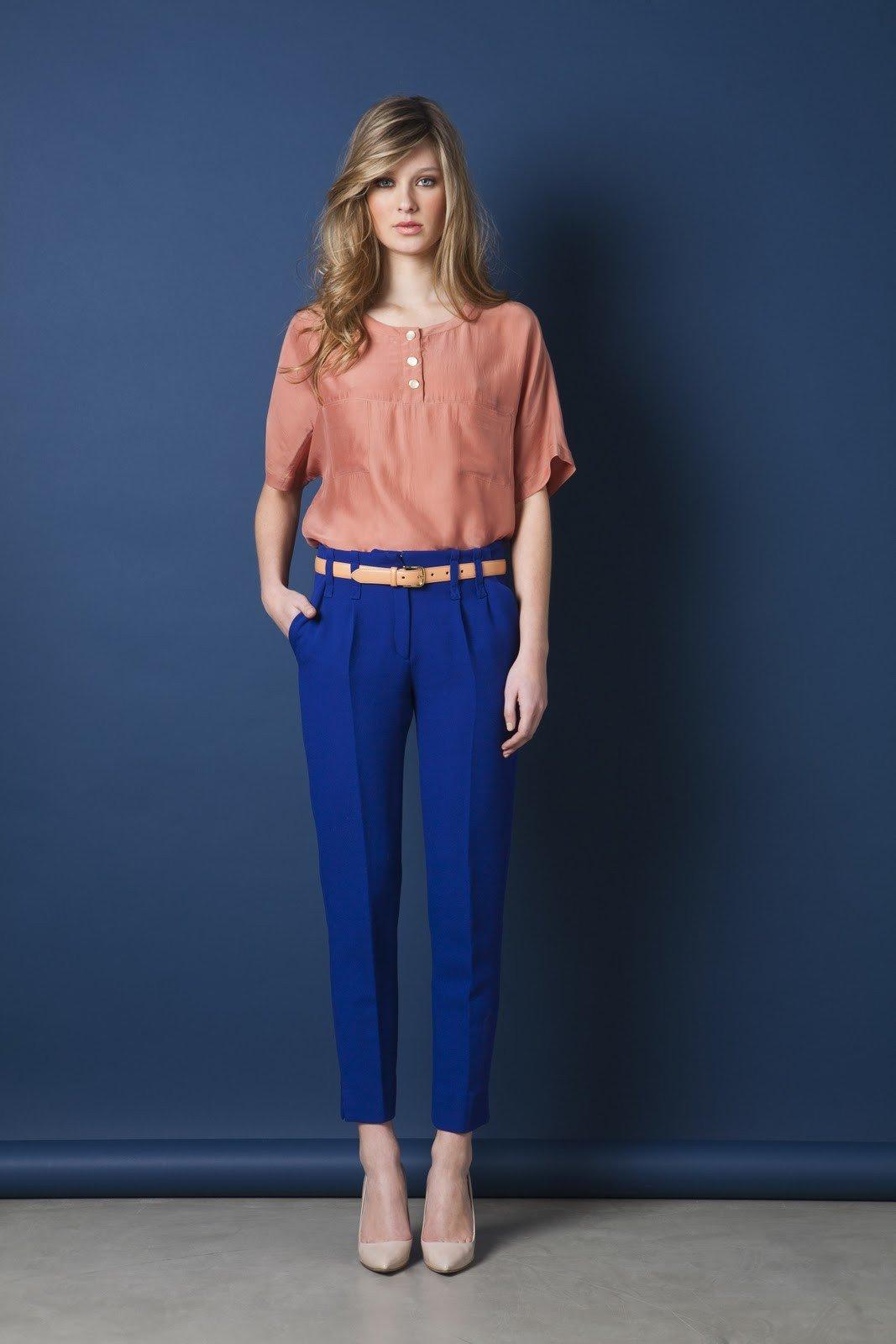 классические брюки синие по косточку