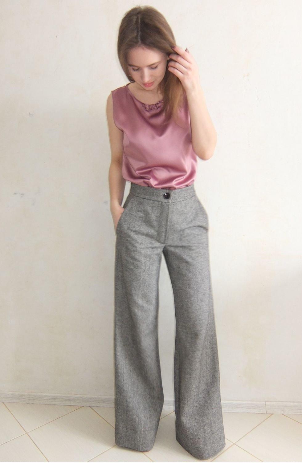 брюки расклешенные серые высокая талия
