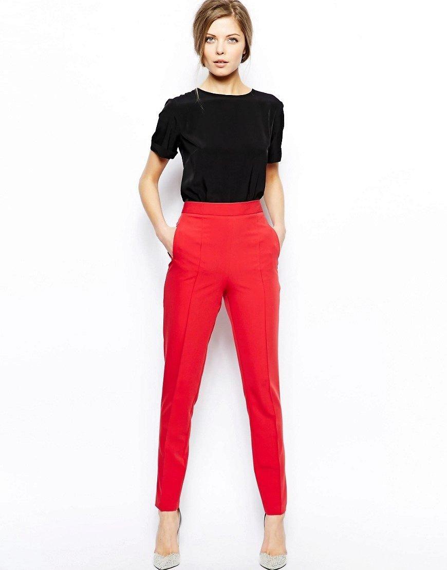 брюки с высокой талией красные