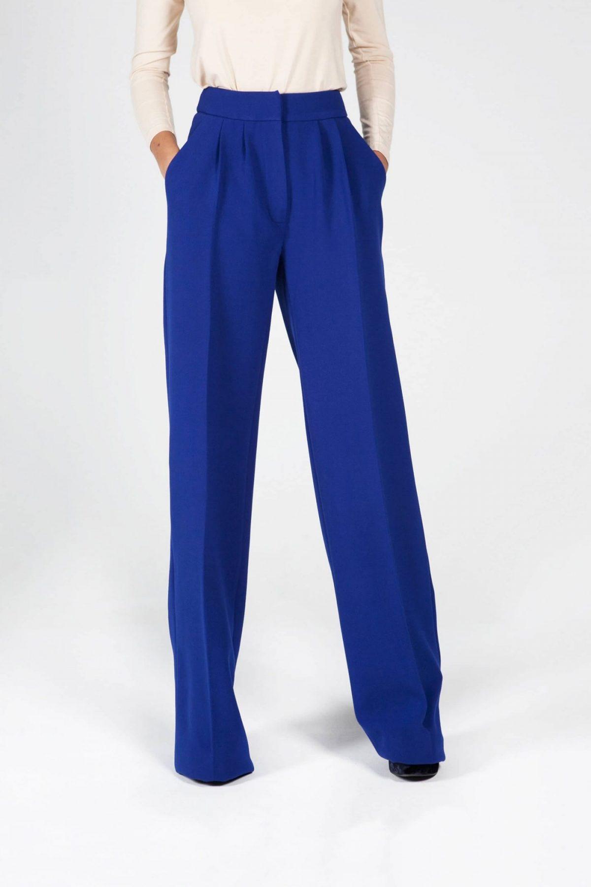 брюки с высокой талией синие с карманами