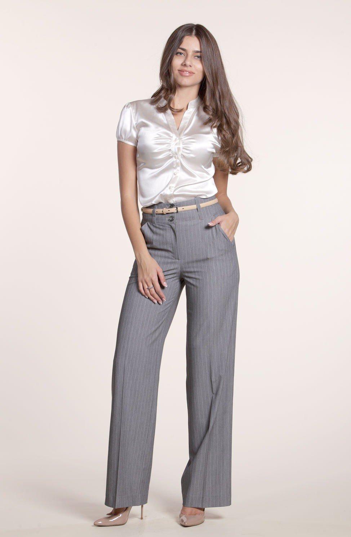 брюки прямые серые в полоску