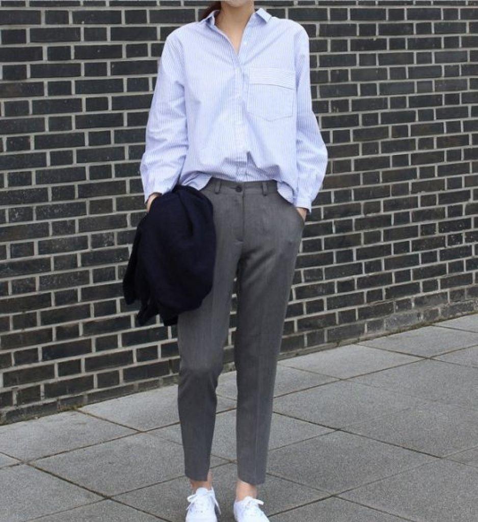 брюки прямые серые укороченные