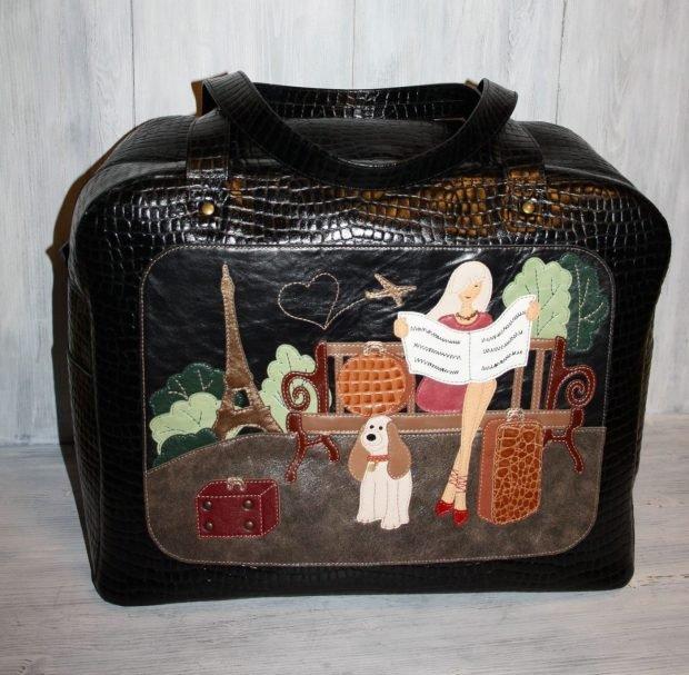 сумка дорожная кожаная с рисунком черная