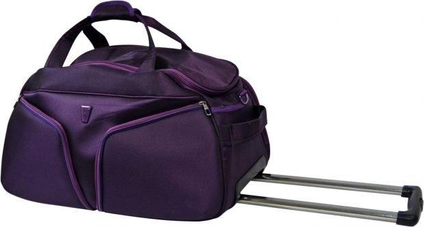 сумка дорожная фиолетовая с ручкой выдвижной