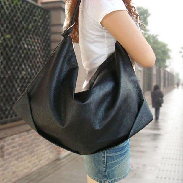 сумка черная мягкая кожа