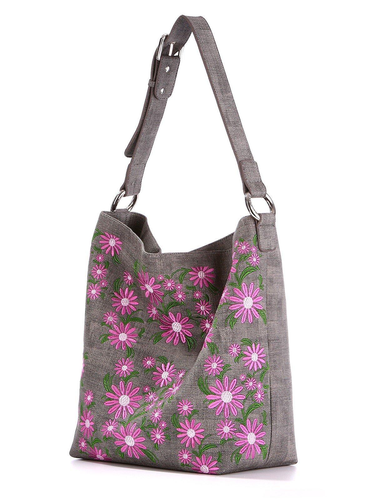сумка серая с розовыми цветами из ткани