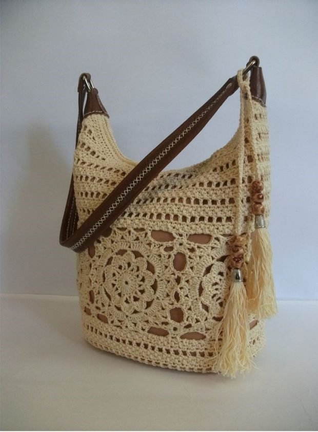 сумка вязаная белая