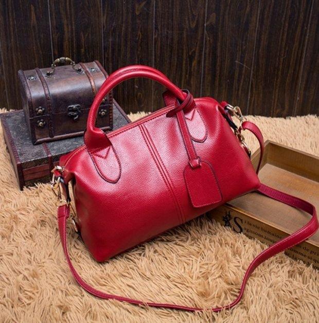 мягкая сумка красная кожаная
