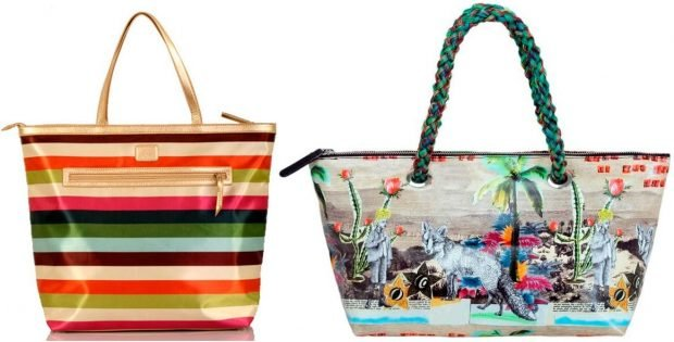 пляжные сумки в полоску яркая с рисунком яркая
