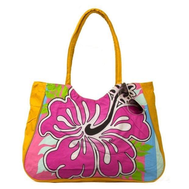 пляжная сумка яркая с цветком