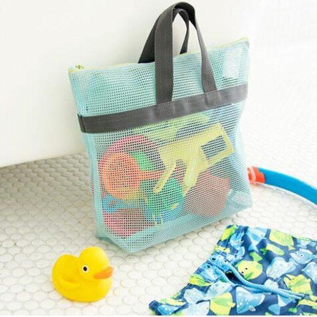 пляжная сумка голубая в сетку