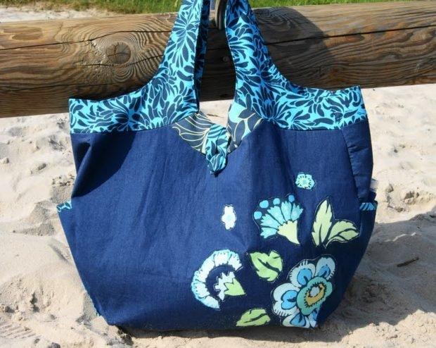 пляжная сумка синяя с рисунком