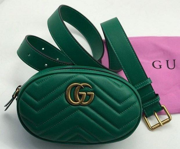 сумка на пояс зеленая овальная