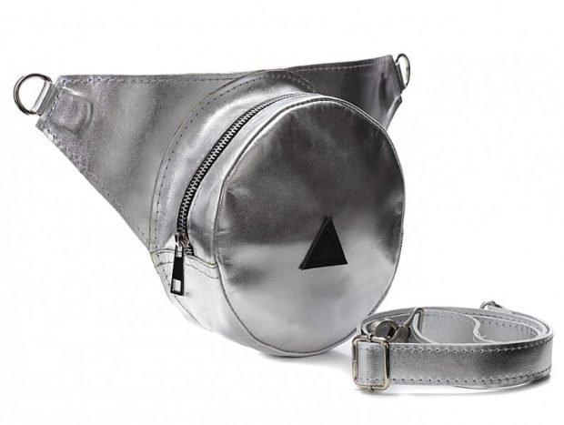 сумка на пояс круглая металлик