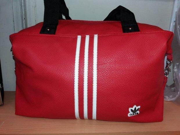 спортивная сумка кожаная красная Adidas