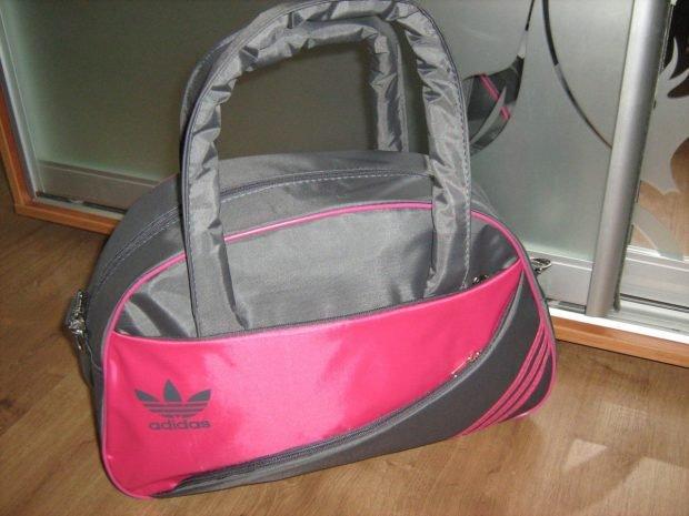 спортивная сумка серая с розовым