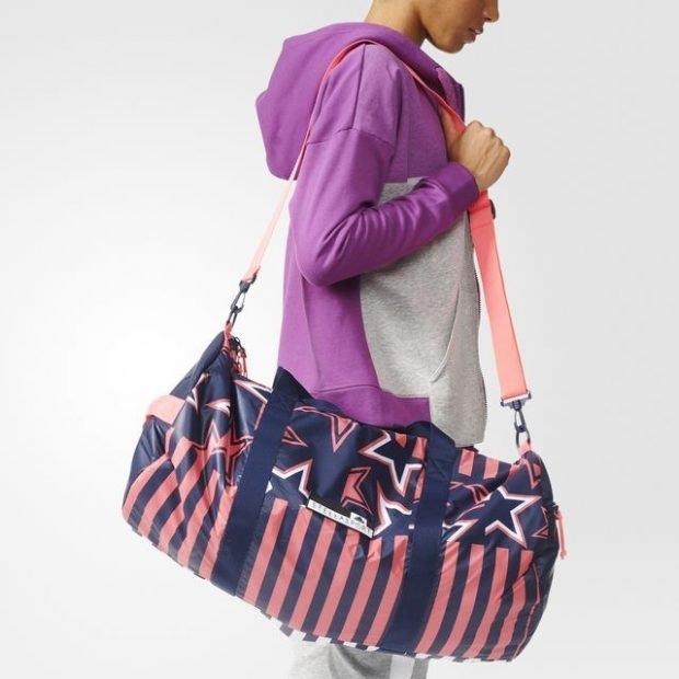 спортивная сумка синяя с полоской розовой