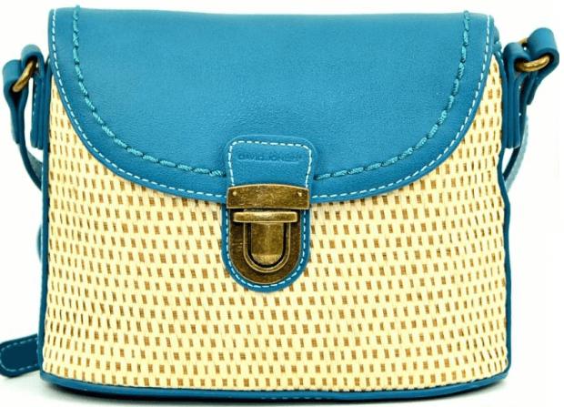 маленькая сумочка голубая с бежевым