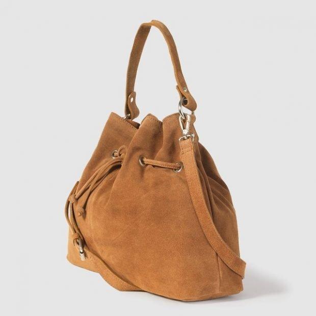 сумка-мешок коричневая замша
