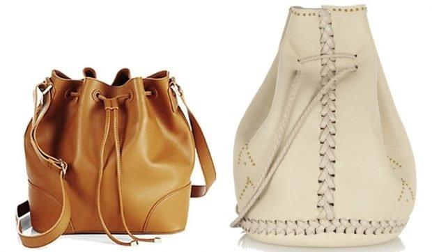 сумка-мешок коричневая кожаная белая кожаная со шнурком