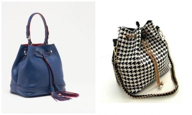 сумка-мешок синяя в гусиную лапку