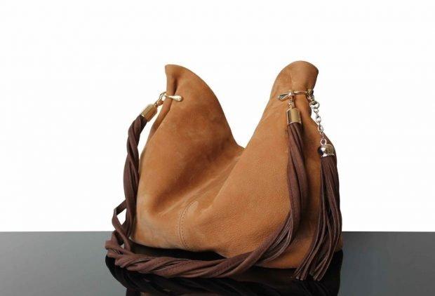 сумка хобо коричневая нубук