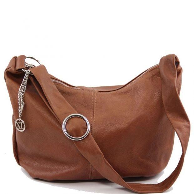 сумка хобо светло-коричневая