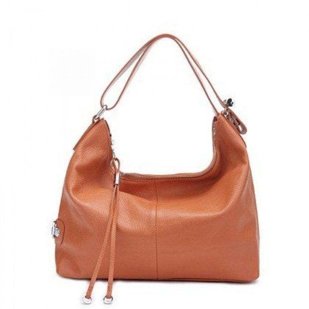 сумка хобо светло-коричневая кожаная