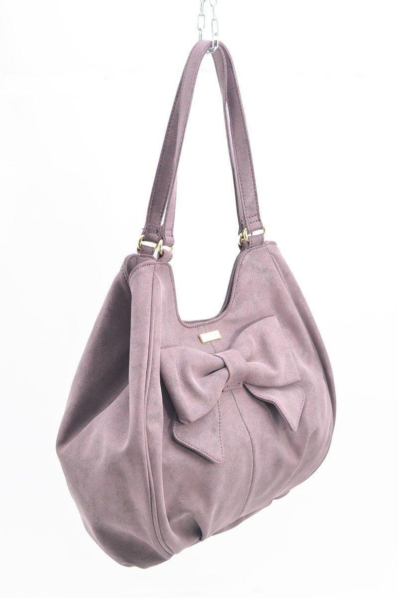сумка хобо нежно-розовая с бантом замша