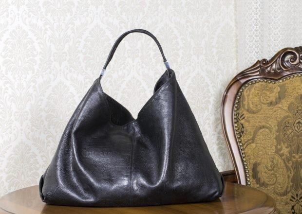 сумка хобо черная мягкая кожа