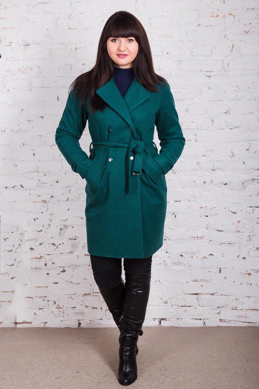 пальто зеленое с поясом классика