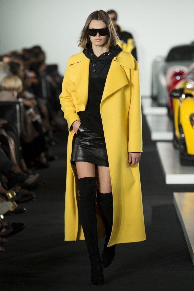 желтое пальто длина миди