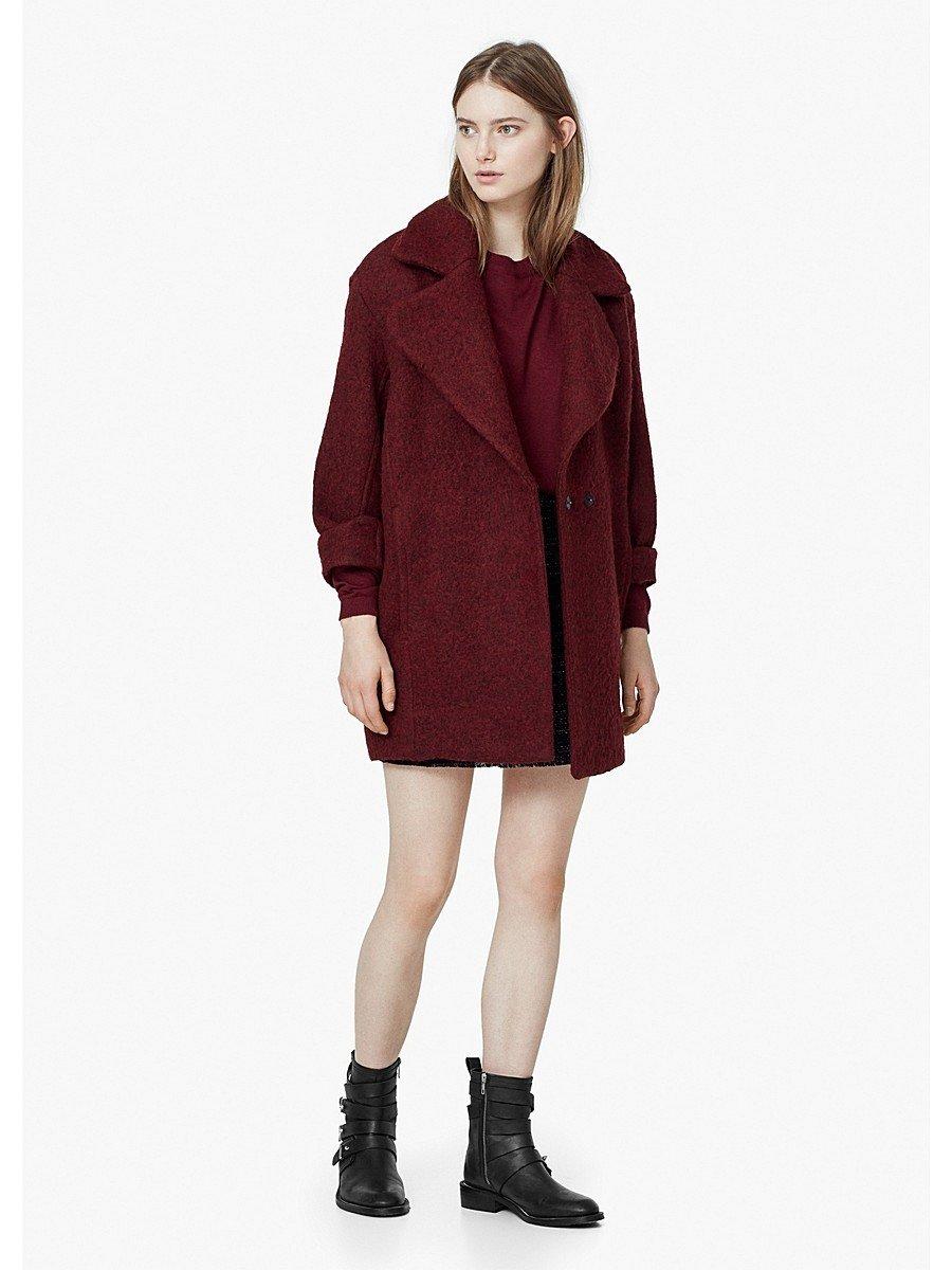 пальто бордовое оверсайз