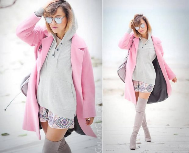 пальто розовое
