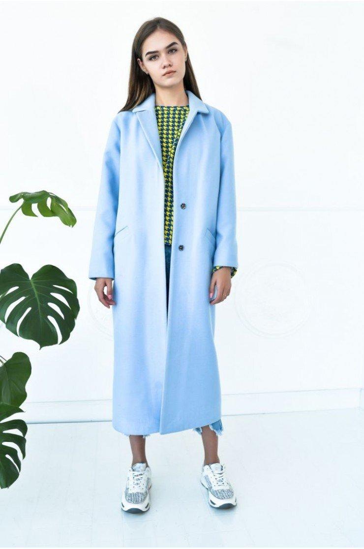 пальто голубое длина миди