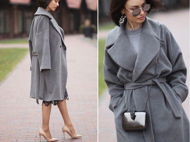 пальто серое классика под пояс